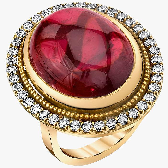 Кольцо Valentina с рубеллитом и бриллиантами от Anabel Higgins