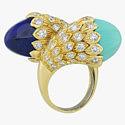 Кольцо с бирюзой, лазуритом и бриллиантами от David Webb
