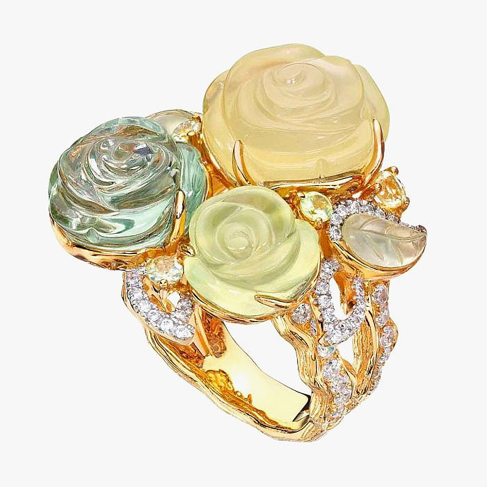 Кольцо с кварцем, пренитом, аметистом, хризолитом и бриллиантами от E&V Jewellery