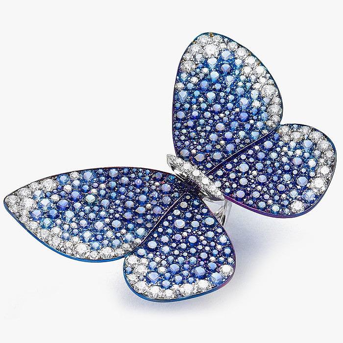 Кольцо с бабочкой, украшенной сапфирами, от Glenn Spiro