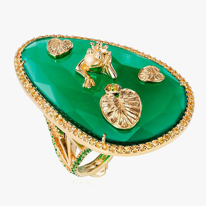 Кольцо с халцедоном, сапфирами, бриллиантами и цаворитами от Maria Kovadi