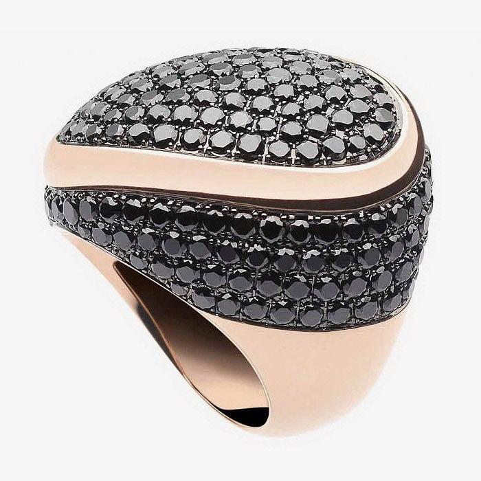 Кольцо с черными бриллиантами от Bonato