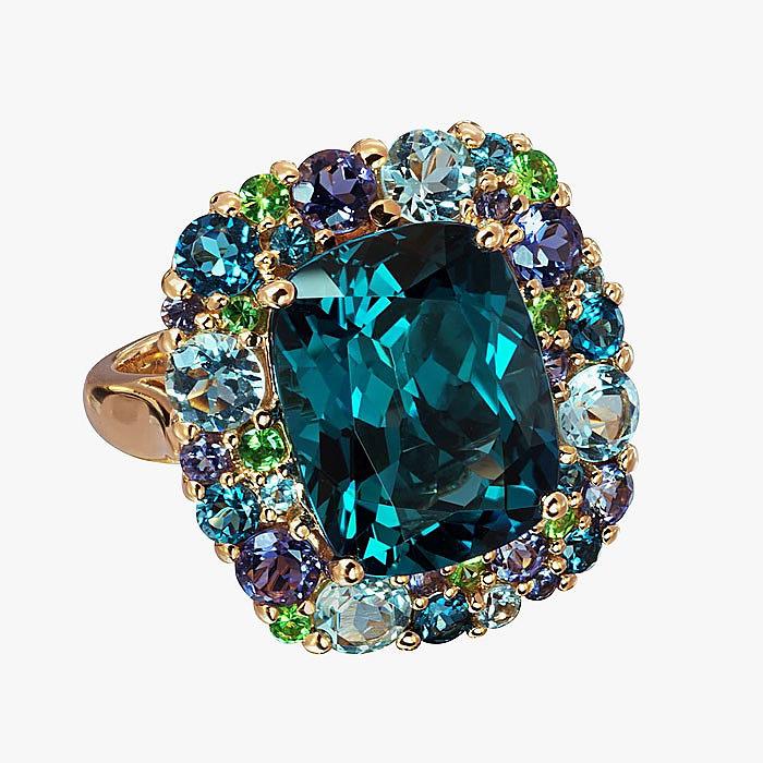 Кольцо Isabelle Langlois c кордиеритами, голубыми топазами, цаворитами