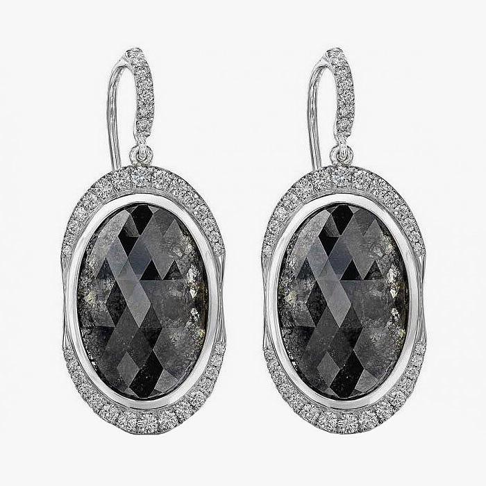 Серьги с темно-серыми и бесцветными бриллиантами от Rahaminov Diamonds