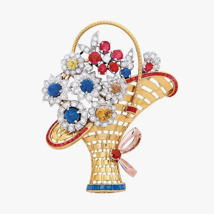 Брошь-кулон с бриллиантами, сапфирами и рубинами в желтом и розовом золоте