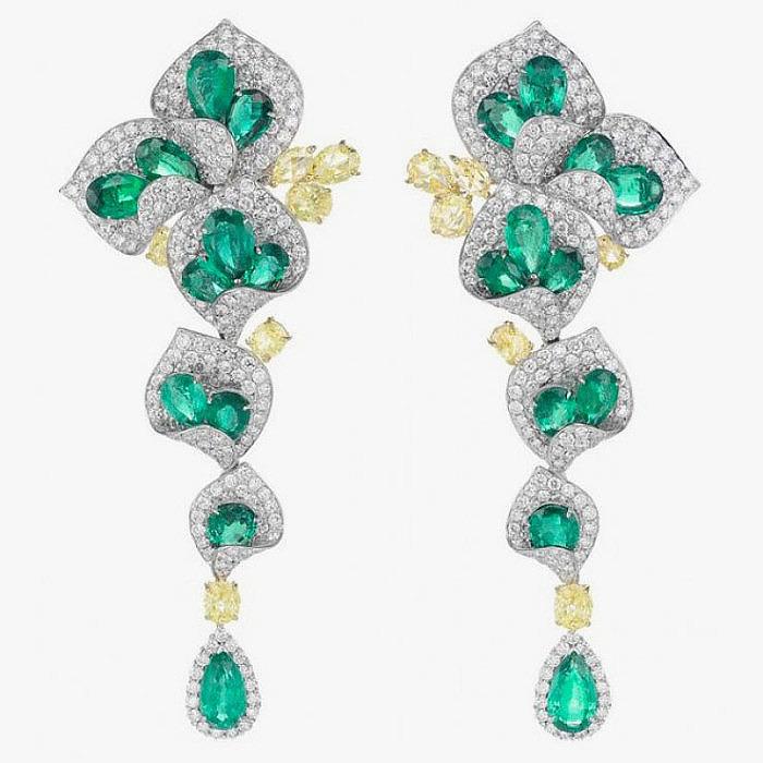 Серьги с бриллиантами и изумрудами от Chopard