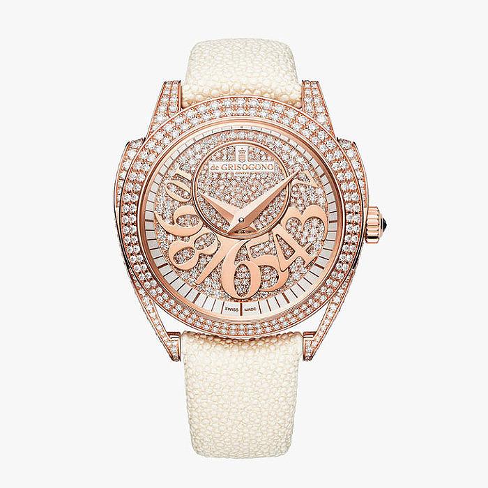 Ювелирные часы de Grisogono: розовое золото, бриллианты и шагреневая кожа