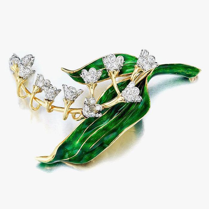 Брошь-ландыш от Donald Claflin: эмаль и бриллианты