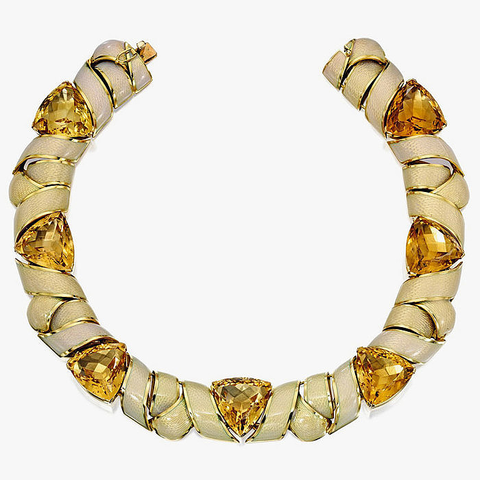 Колье с цитринами и эмалью в золоте