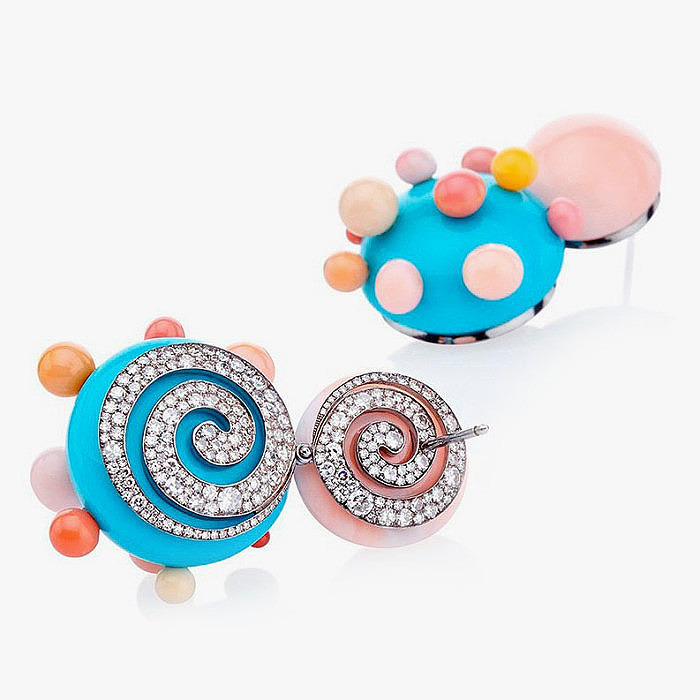 Серьги с бриллиантами, жемчугом, кораллами и бирюзой от Theodoros Savopoulos
