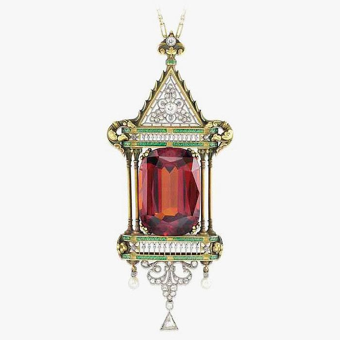 Колье с подвеской 1910 года: спессартин, эмаль, жемчуг и бриллианты