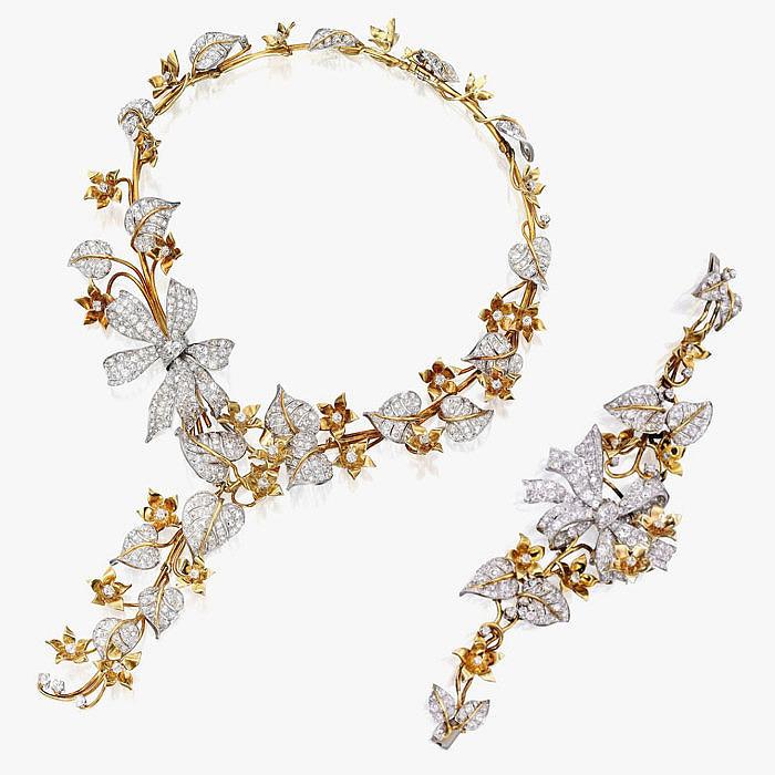 Комплект из колье и браслета с бриллиантами от George Headley