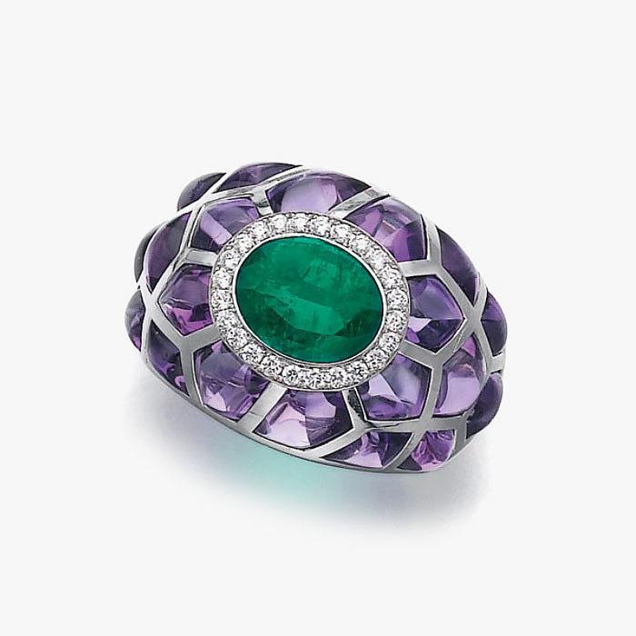 Кольцо с изумрудом, бриллиантами и аметистами отMichele della Valle
