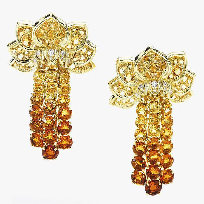 Пара серег с цитринами и бриллиантами от René Boivin