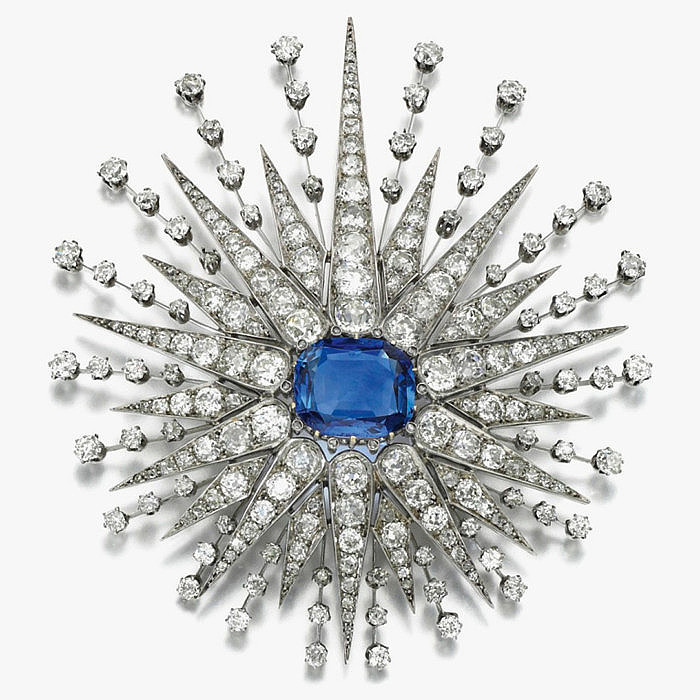 Брошь с сапфиром 12,96 карата и бриллиантами, конец XIX века