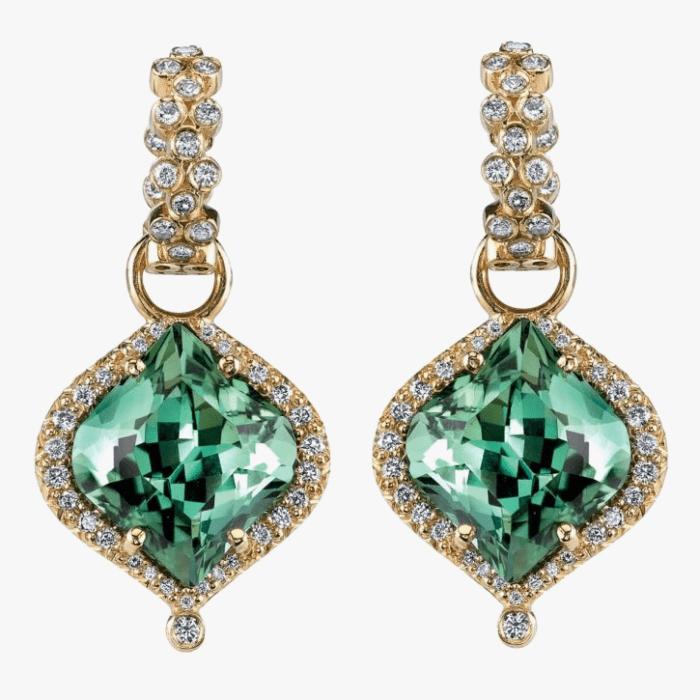 Серьги Erica Courtney с зелеными турмалинами и бриллиантами