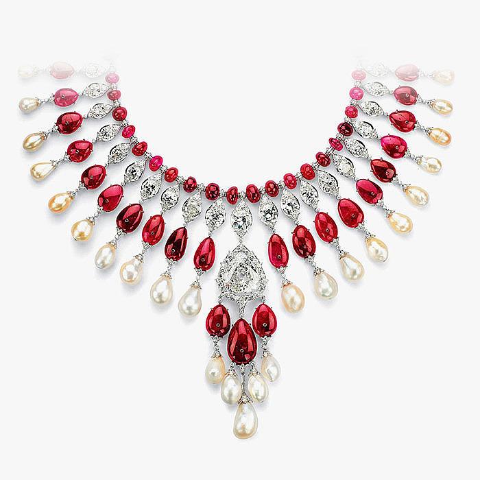 Рубины, жемчуг и бриллианты в колье от Viren Bhagat