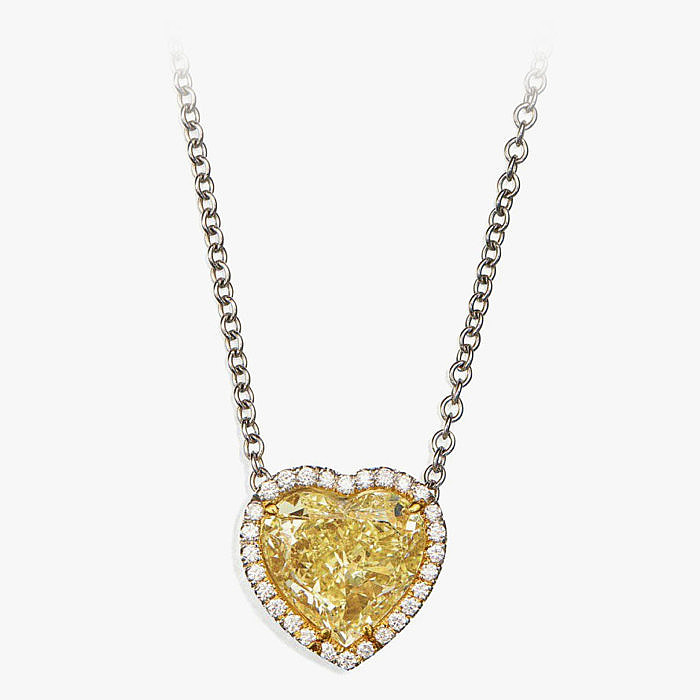 Колье из платины и золота с желтым бриллиантом сердцевидной огранки