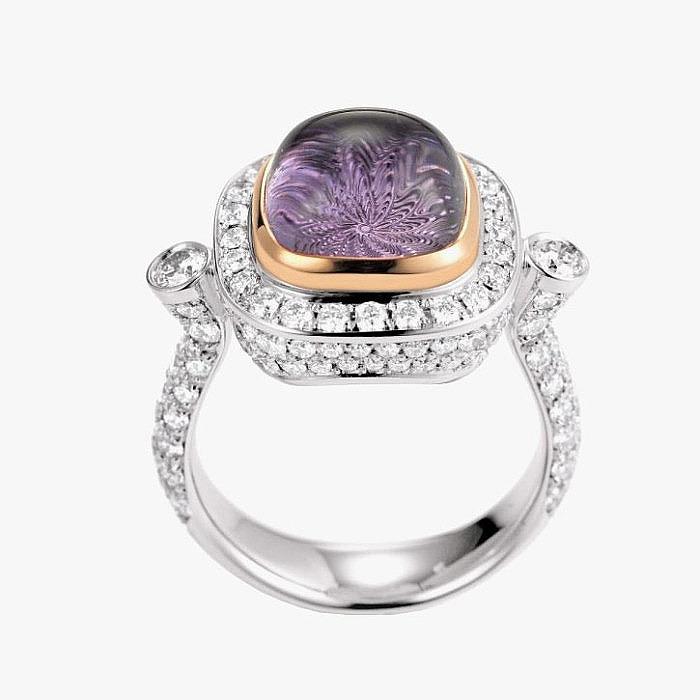 Кольцо из белого золота от Victor Mayer с бриллиантами и аметистом