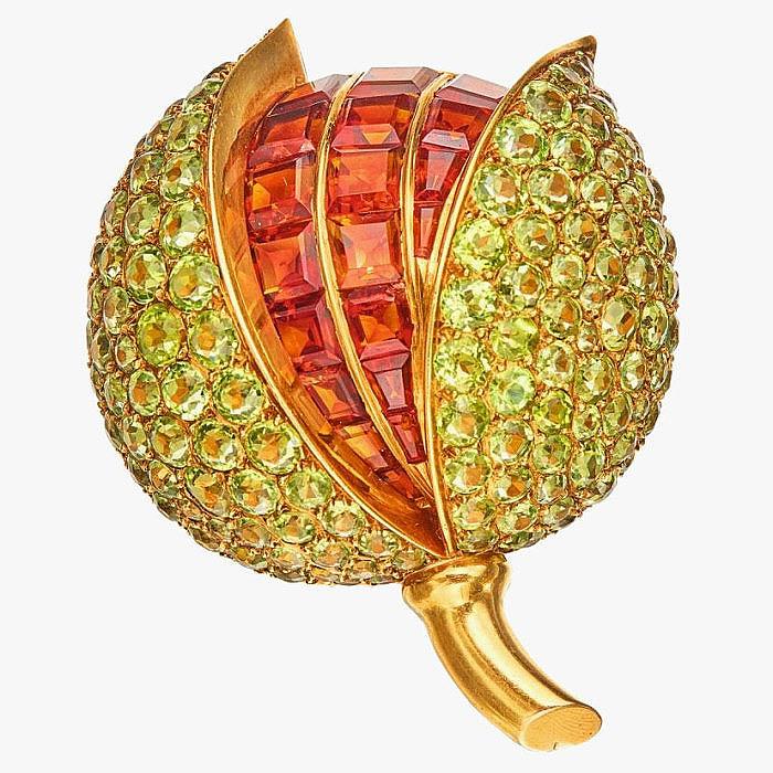 Яркая брошь из 14-каратного золота с хризолитами и цитринами