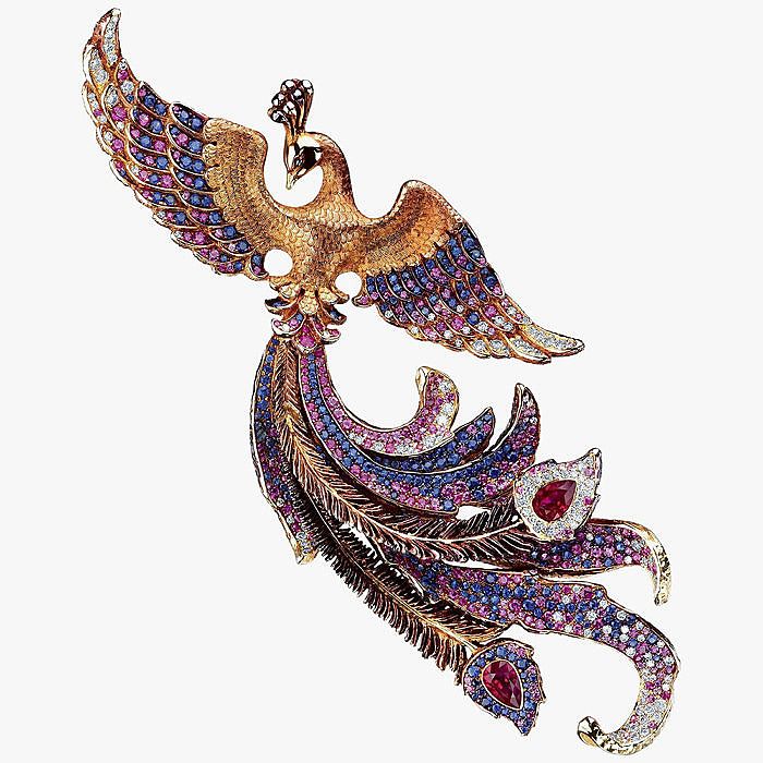 Брошь с бриллиантами, рубинами, сапфирами, турмалинами и аметистами от Jewellery Theatre