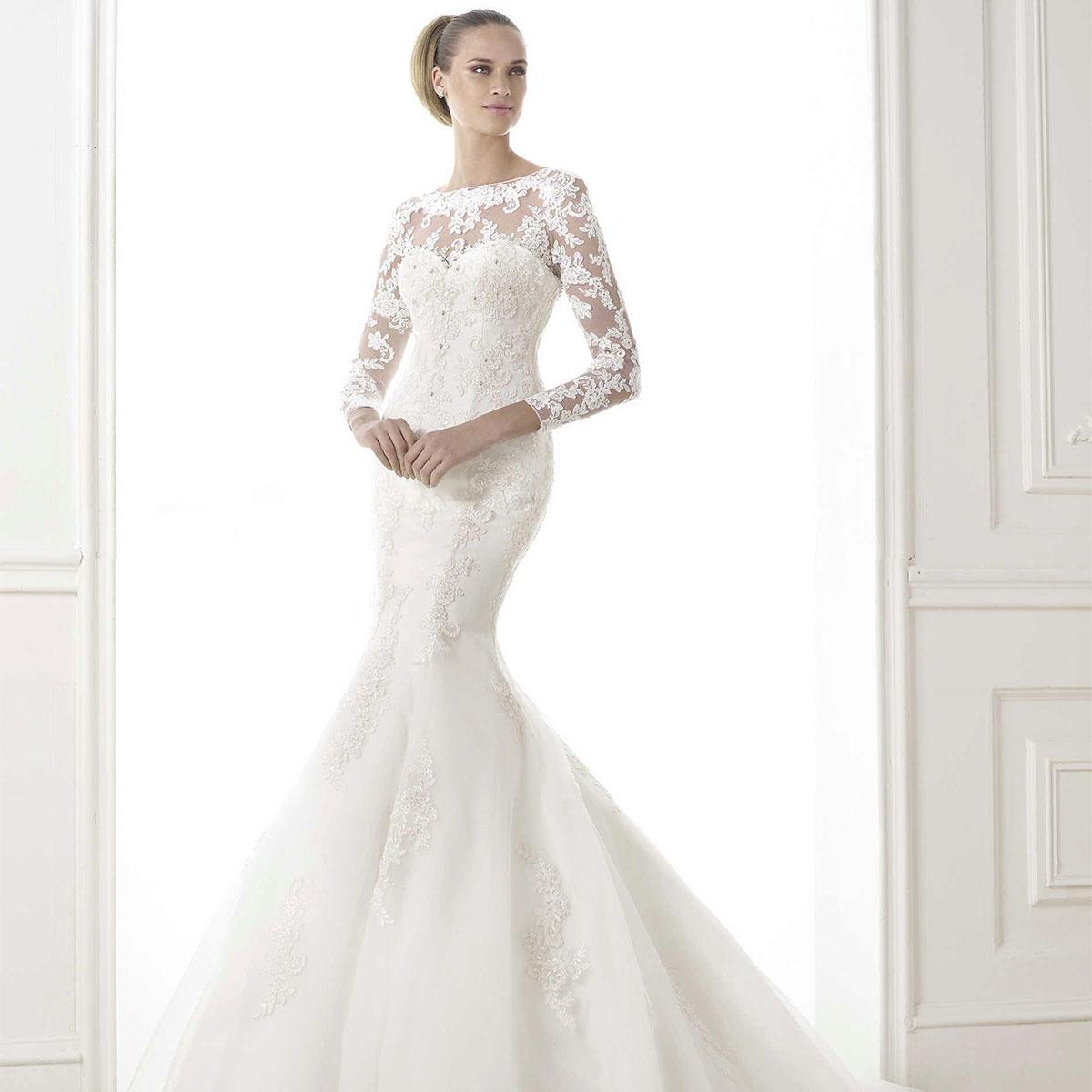 e4b4ddba64a Платье Рыбка с длинными кружевными рукавами. Свадебное ...