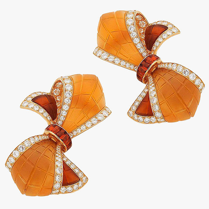 Пара брошей с цитринами и бриллиантами от Boucheron