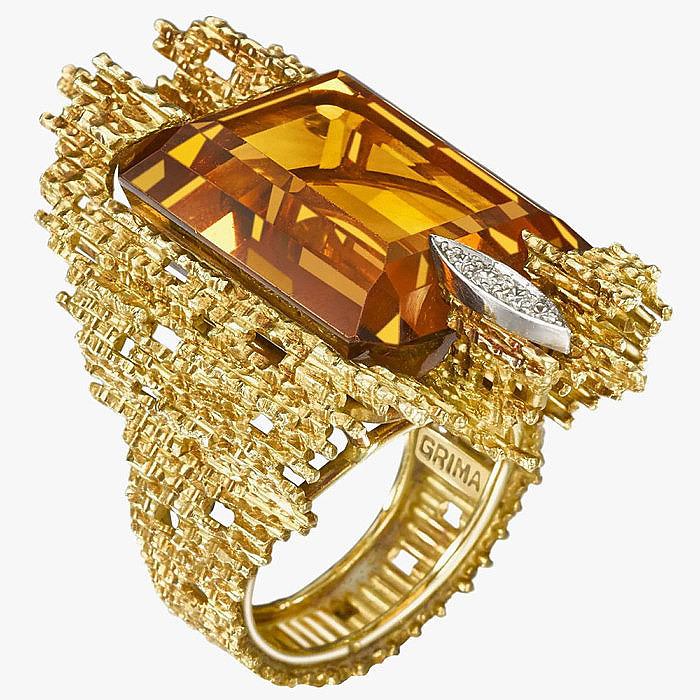 Золото, цитрин и бриллианты в кольце от Grima