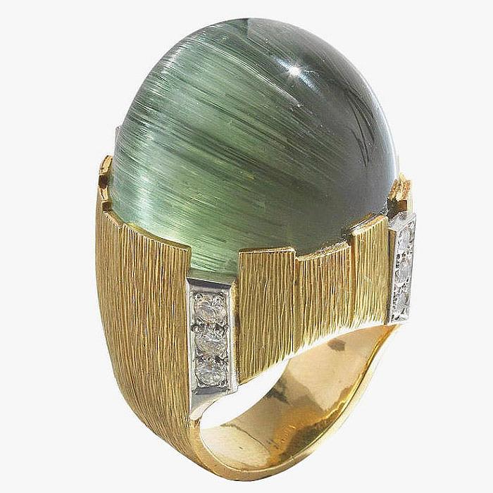 Турмалин в оправе из золота в кольце от Grima