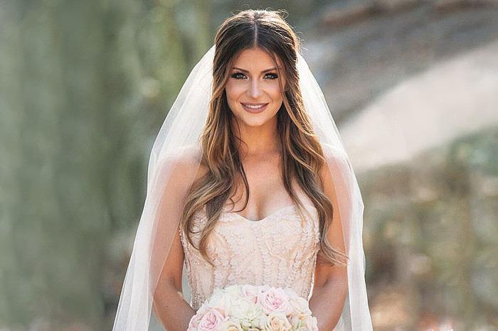 Свадебная прическа длинная фата