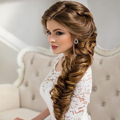 Свадебная прическа на длинные волосы коса