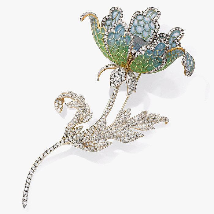 Драгоценный цветок с эмалью, топазом и бриллиантами