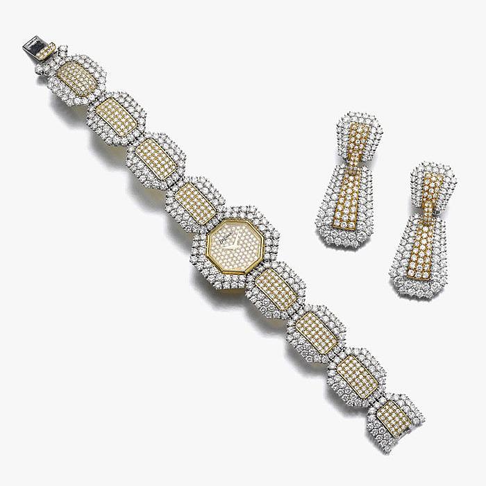 Бриллиантовый комплект из часов и серег от DeLaneau