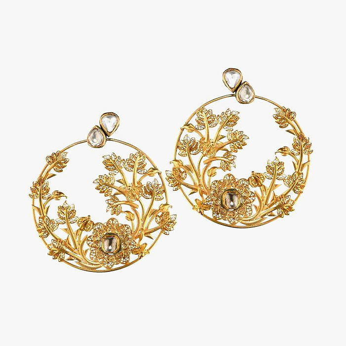Серьги с растительными узорами из золота от Jyoti Kapoor