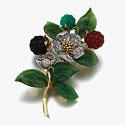 Брошь-цветок с нефритом, хризопразами, сердолика и оникса от Carrington