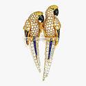Брошь в виде пары попугаев на жердочке из горного хрусталя от Cartier