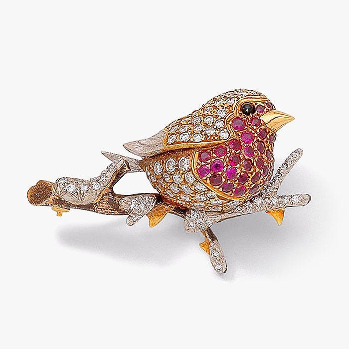 Брошь-малиновка с бриллиантами и рубинами от E Wolfe and Co.