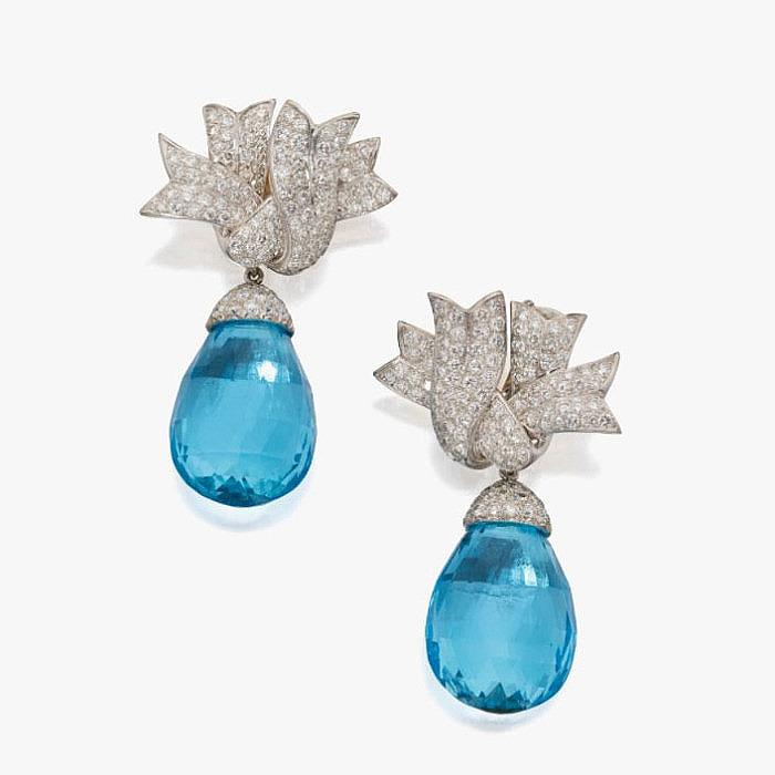 Капли голубых топазов и бриллианты в клипсах от Verdura