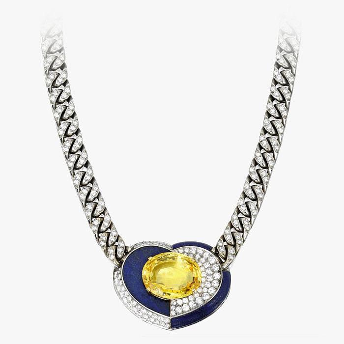 Колье от Bulgari с сапфиром, лазуритом и бриллиантами