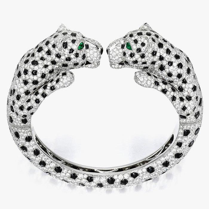 Браслет Cartier с пантерами, бриллиантами, ониксом и изумрудами