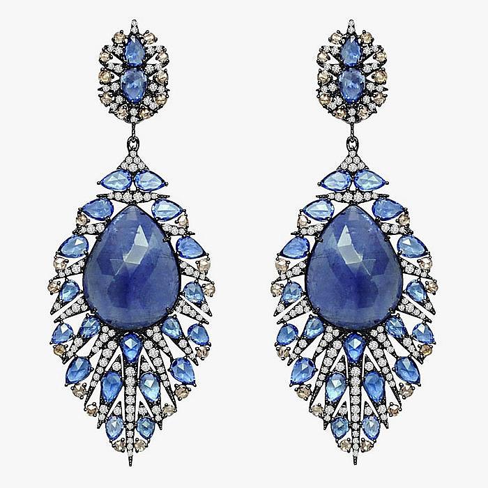 Серьги с бриллиантами, сапфирами и танзанитами от Sutra Jewels
