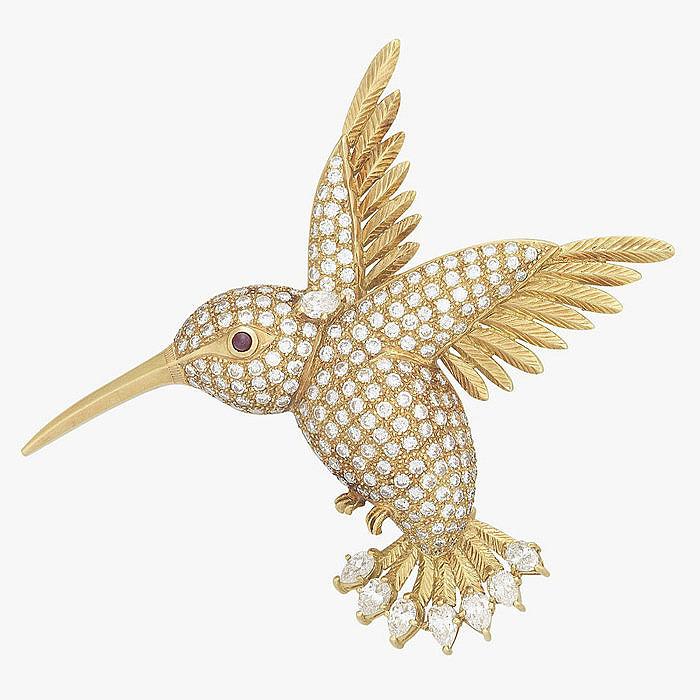 Брошь-колибри с бриллиантами
