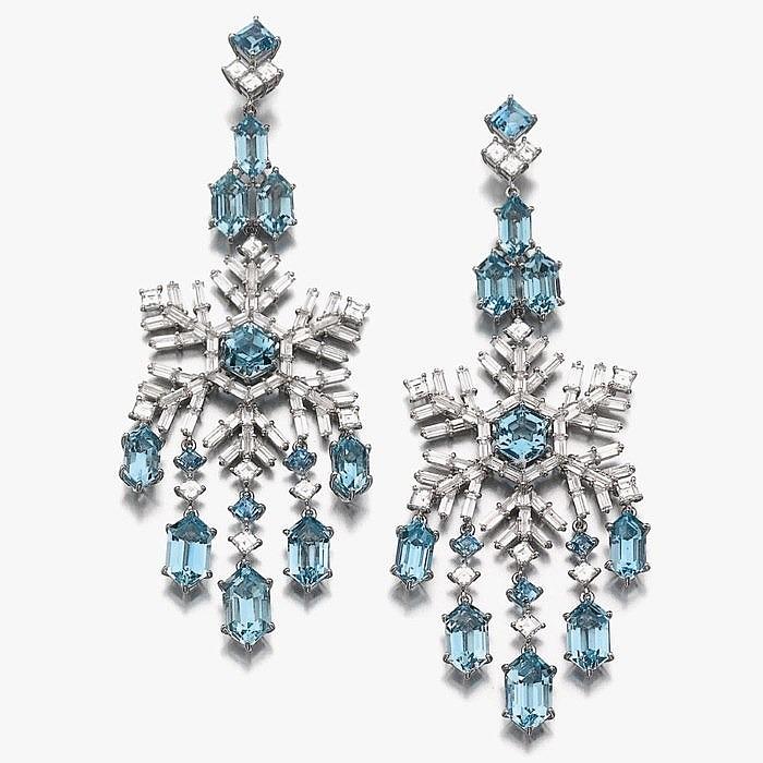 «Ледяные» серьги с аквамаринами и бриллиантами от Francesco Rosa