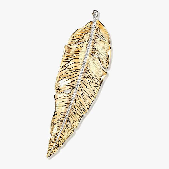 Брошь-листок «Осень» из золота с бриллиантами от Mousson Atelier