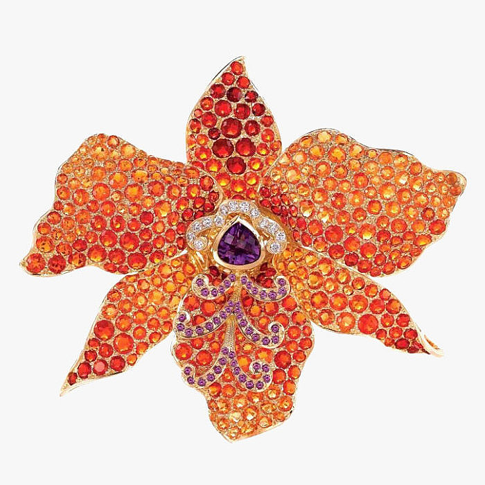 Брошь Orchid с опалами, аметистами, бриллиантами от Paula Crevoshay