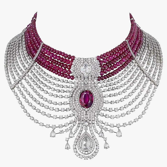 Бриллианты и африканские рубины с великолепном колье от Cartier