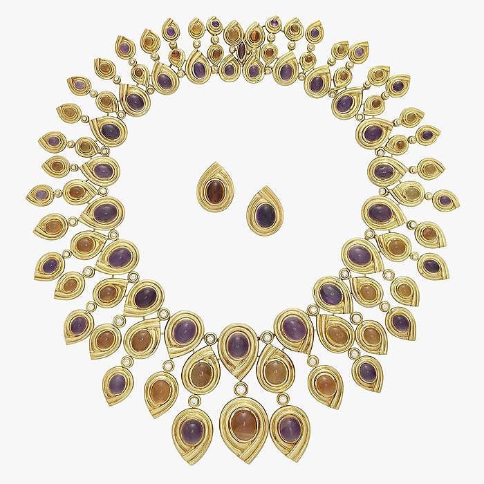 Сет из пары серег и колье с аметистами, цитринами и бриллиантами