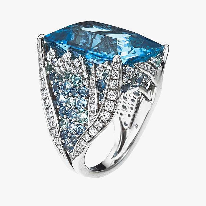 «Морское» кольцо от Mark Patterson с аквамарином и бриллиантами