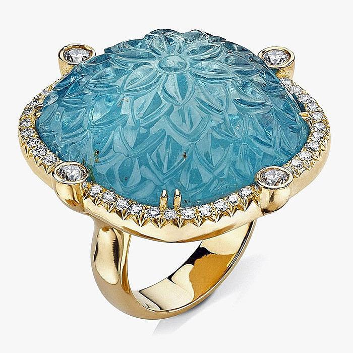 Кольцо из золота с аквамарином и бриллиантами от Pamela Huizenga
