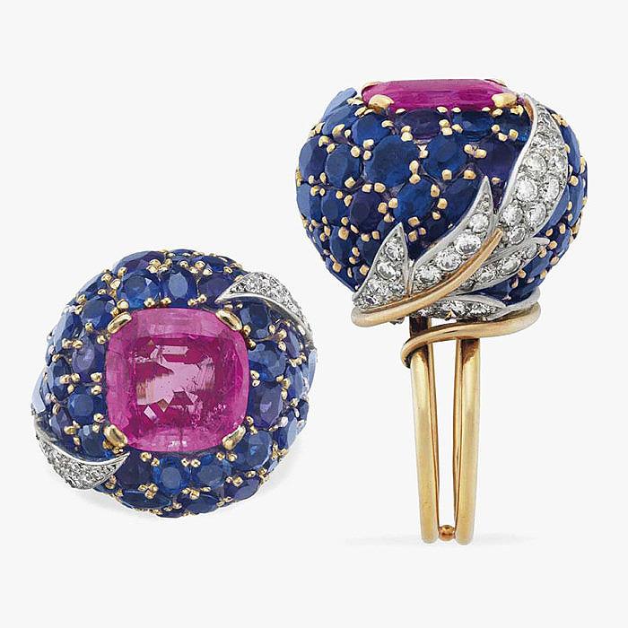 Разноцветные сапфиры и бриллианты в кольце от Jean Schlumberger
